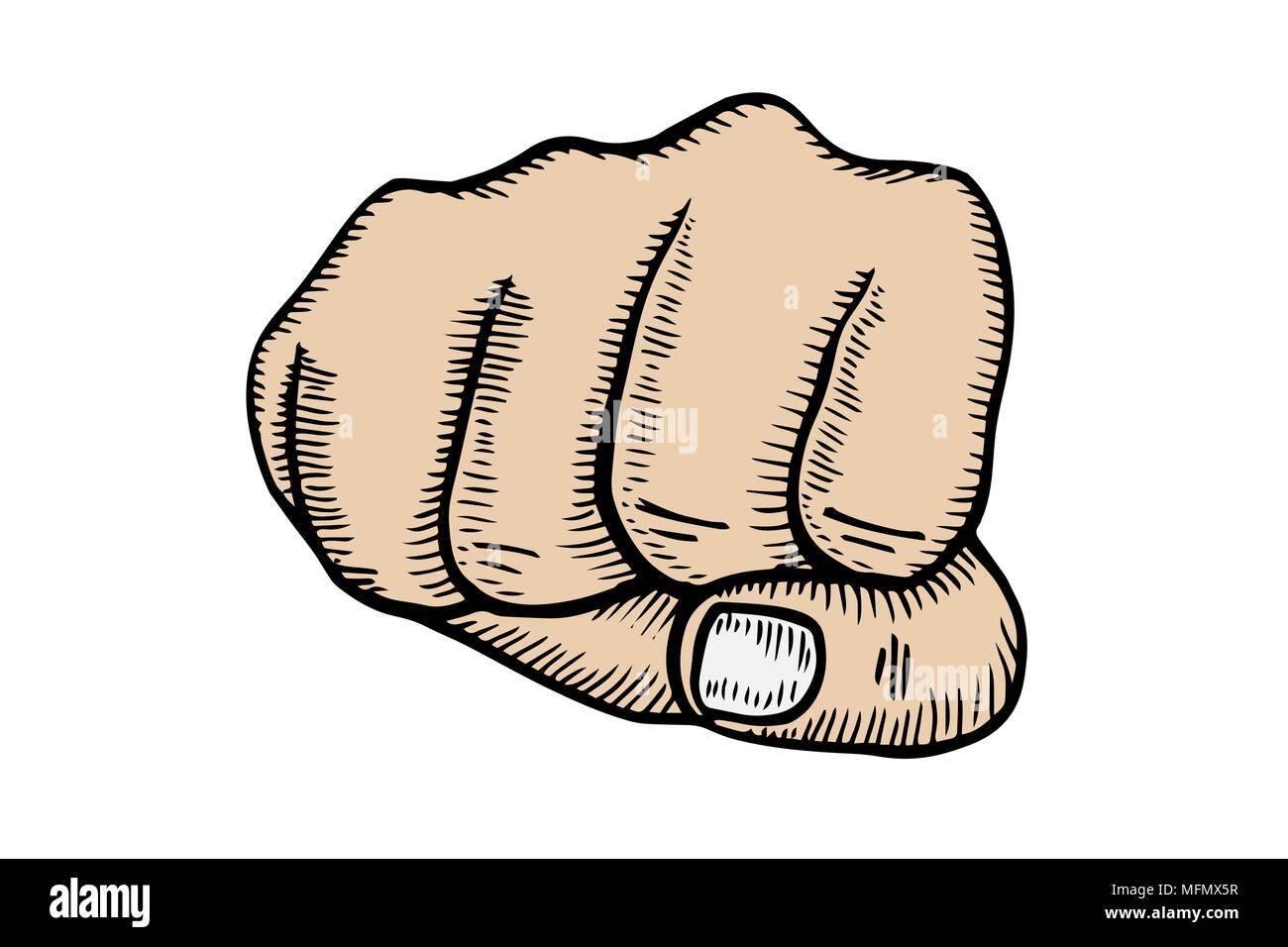 Vector simple drawing - a man's fist on a white background - Stock Image