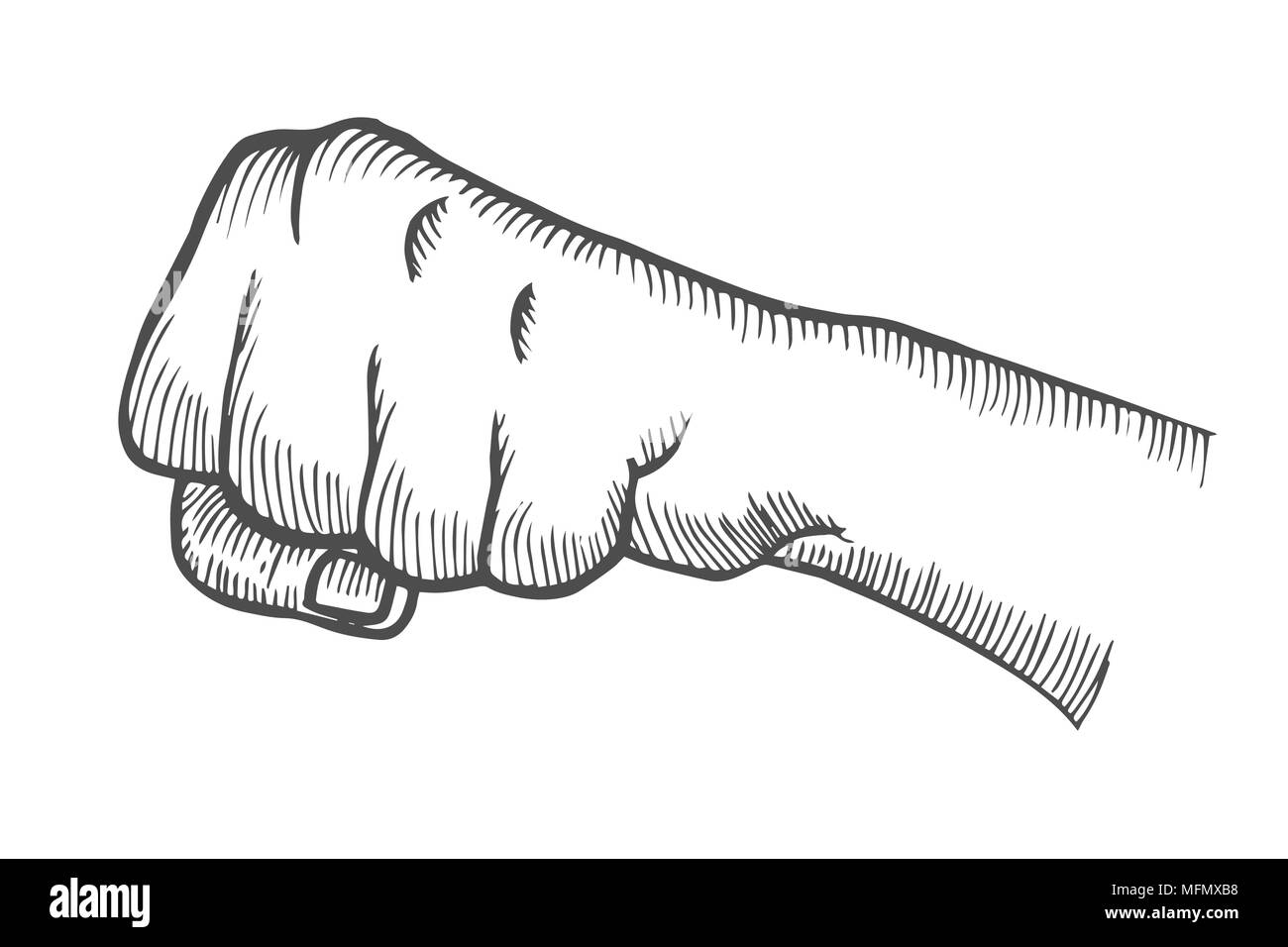 Hand gesture Fist. Engraved style vector illustration, Linear ...