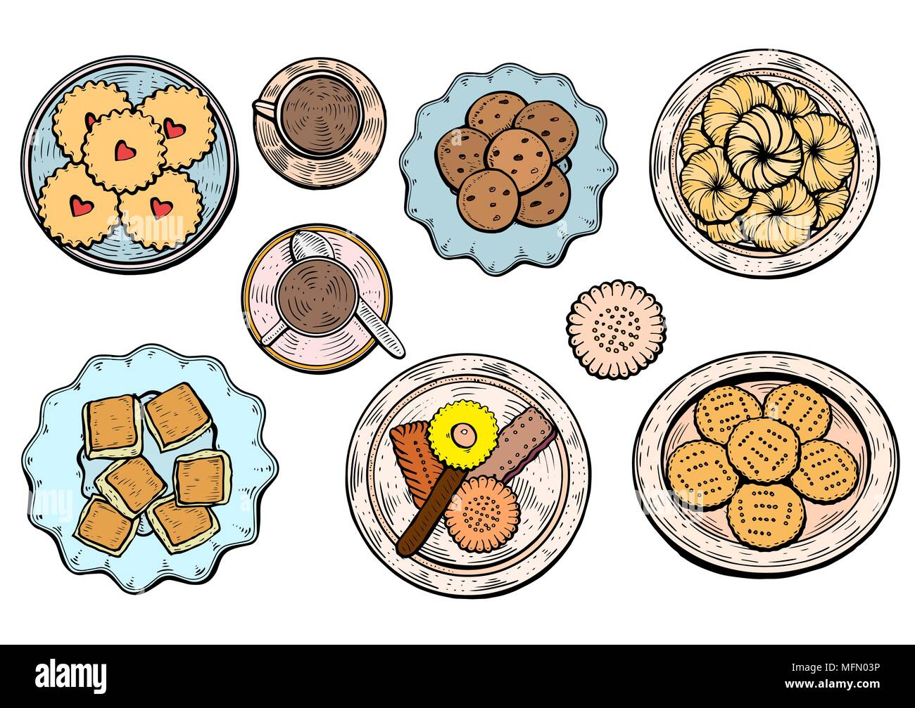 hand drawn. Oriental sweets vector illustration. Middle eastern food. Food menu background. top view. Colorful design template. - Stock Vector