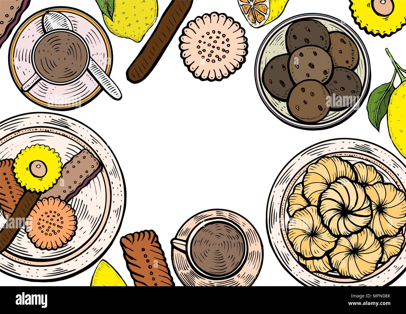 Food menu background. Middle eastern food, hand drawn. Oriental sweets vector illustration. Linear graphic. Colorful vector illustration. - Stock Vector