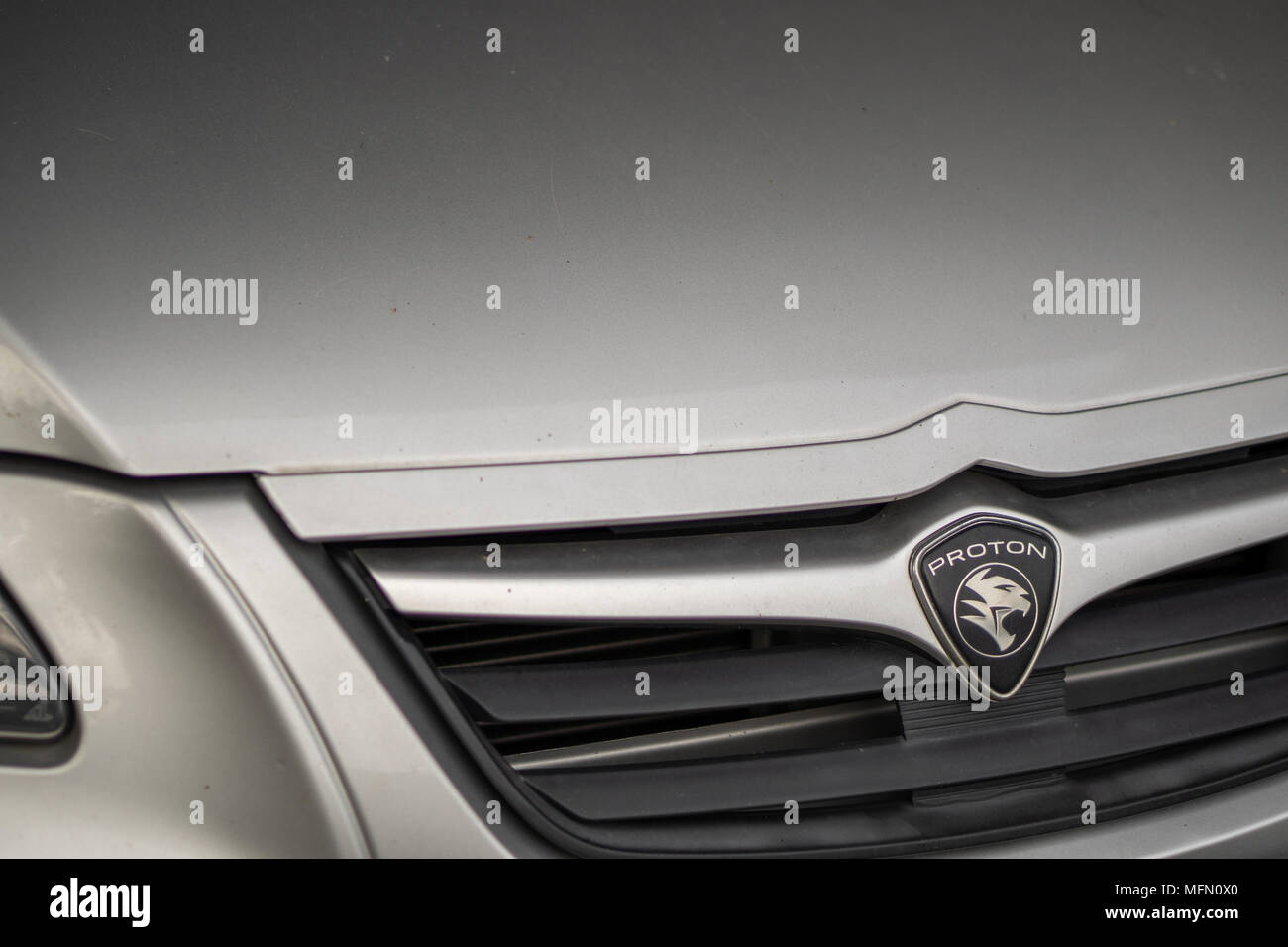 Proton car emblem and brand logo on front of car. Modern & high technology car build by one of the Malaysian famous car manufacture. Stock Photo