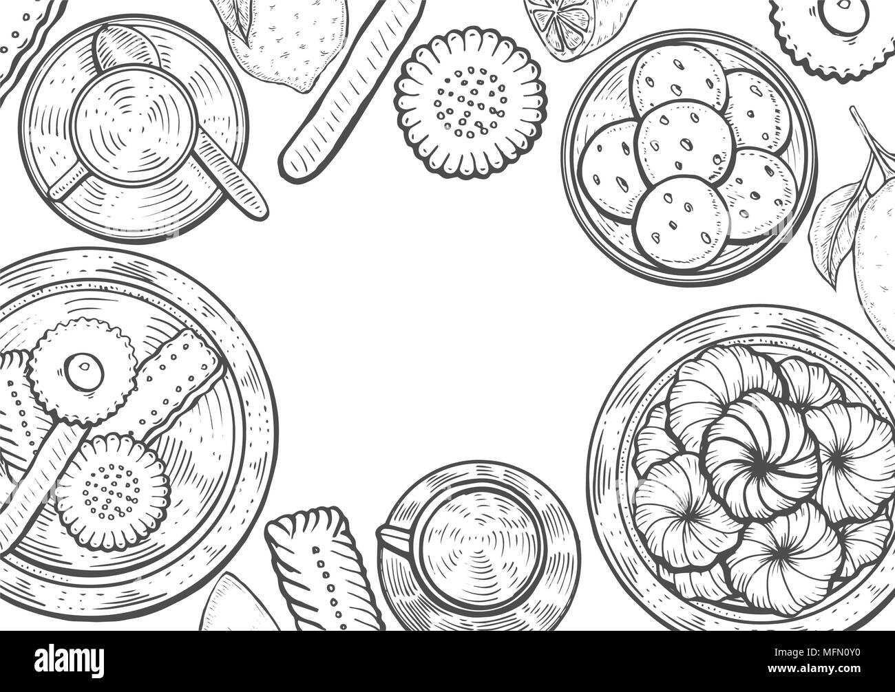 Hand drawn Food menu background. Middle eastern food. Oriental sweets vector illustration. Linear graphic. Monochrom vector illustration. - Stock Image