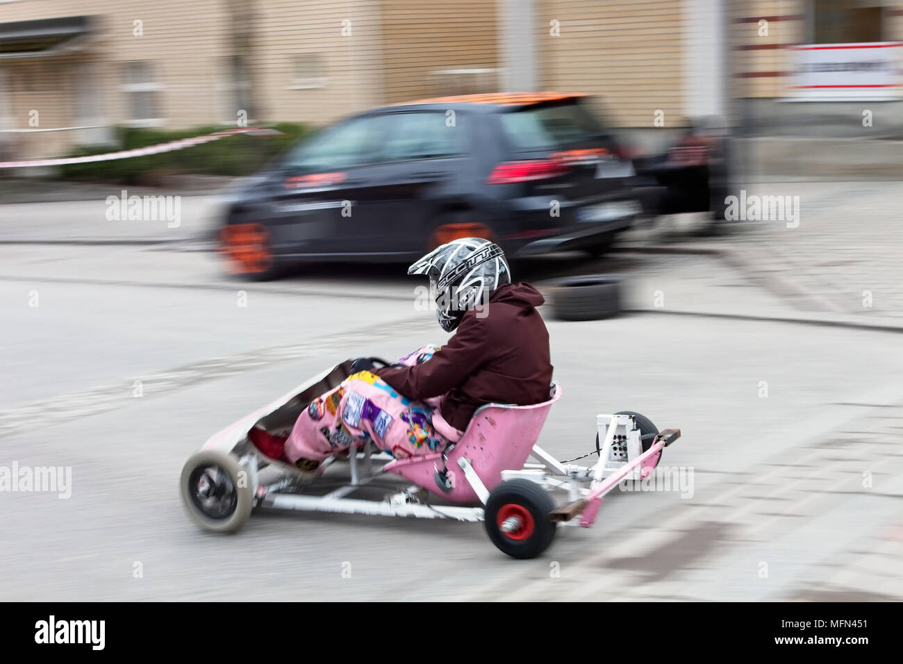 Soapbox Go Kart Driving In Downtown Lappeenranta Finland Stock