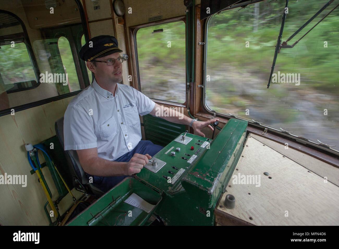 The train driver runs the rail bus, Håverud, Dalsland, Sweden. - Stock Image