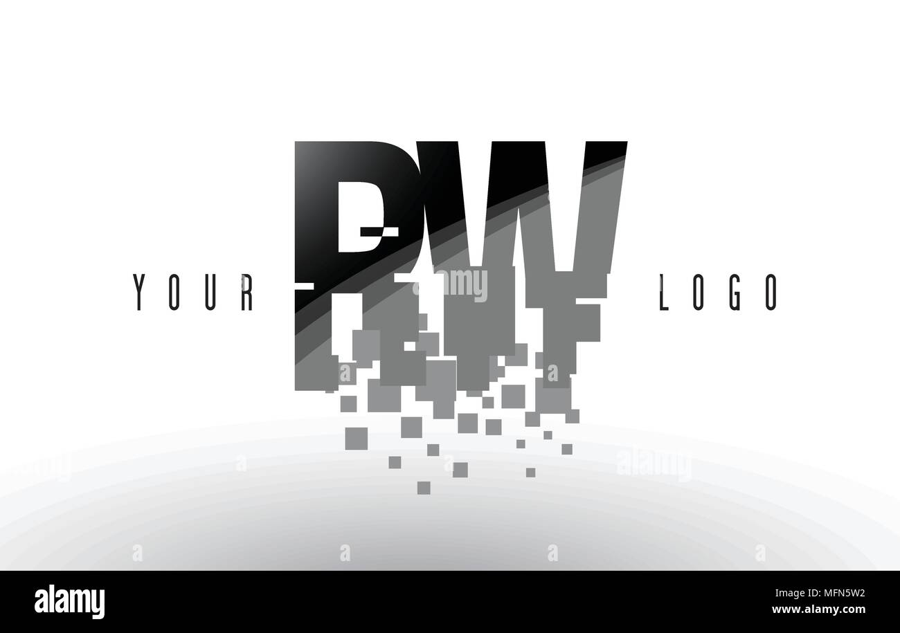 RW R W Pixel Letter Logo with Digital Shattered Black Squares. Creative Letters Vector Illustration. Stock Vector