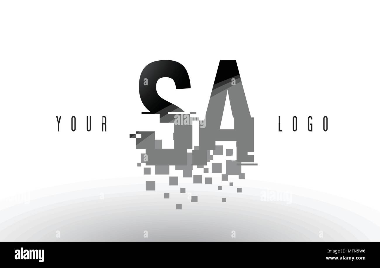 SA S A Pixel Letter Logo with Digital Shattered Black Squares. Creative Letters Vector Illustration. - Stock Vector