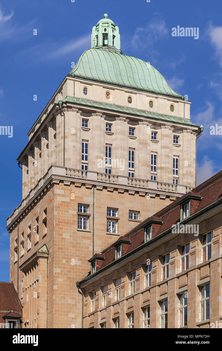 Zurich, Switzerland - 13 October, 2013: the tower of the main building of the University of Zurich. The University of Zurich, located in the city of Z - Stock Image