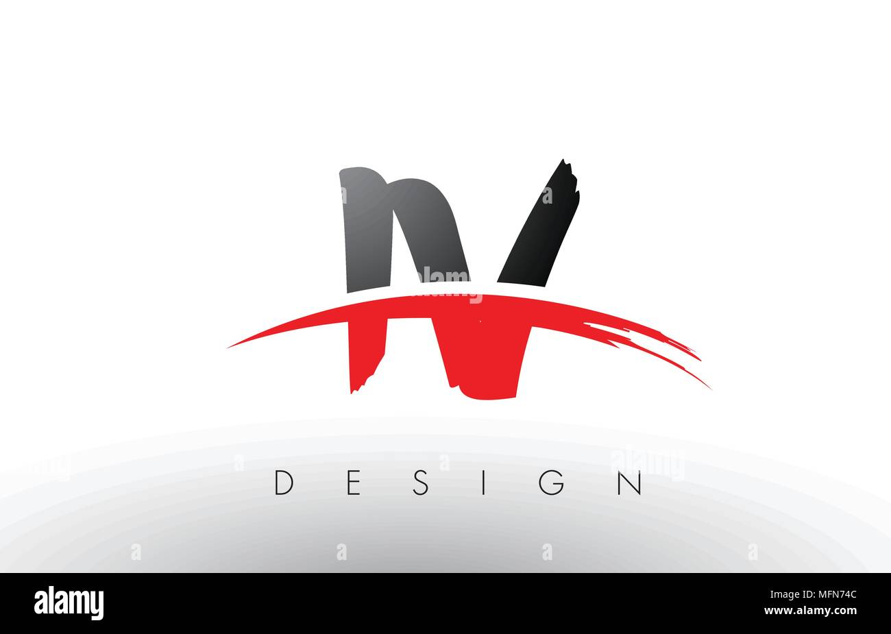 IV I V Brush Logo Letters Design with Red and Black Colors and Brush Letter Concept. - Stock Vector