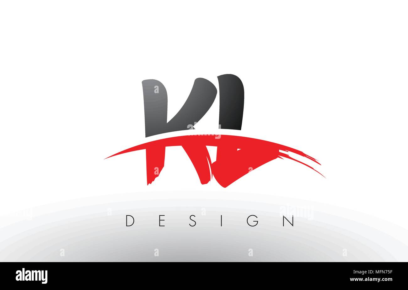 KL K L Brush Logo Letters Design with Red and Black Colors and Brush Letter Concept. - Stock Vector