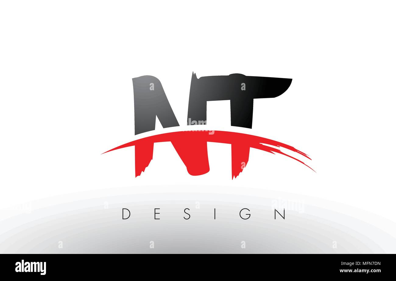 Nt N T Brush Logo Letters Design With Red And Black Colors And Brush