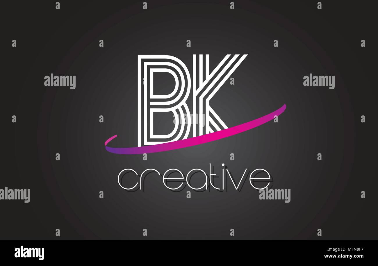 Bk B K Letter Logo With Lines Design And Purple Swoosh