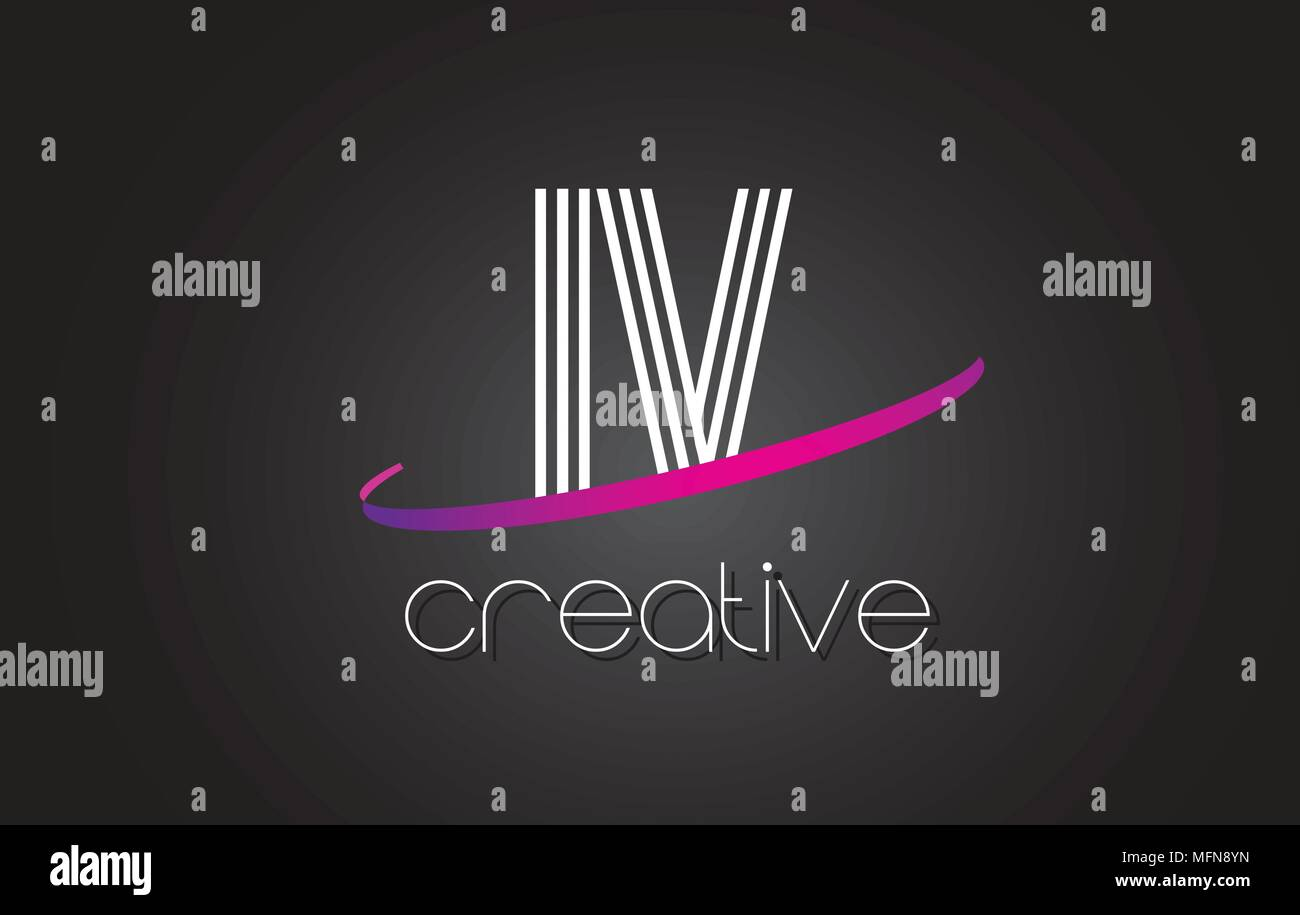 IV I V Letter Logo with Lines Design And Purple Swoosh Vector Letters Illustration. - Stock Vector