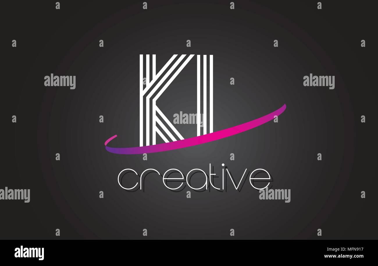 KL K L Letter Logo with Lines Design And Purple Swoosh Vector Letters Illustration. - Stock Vector