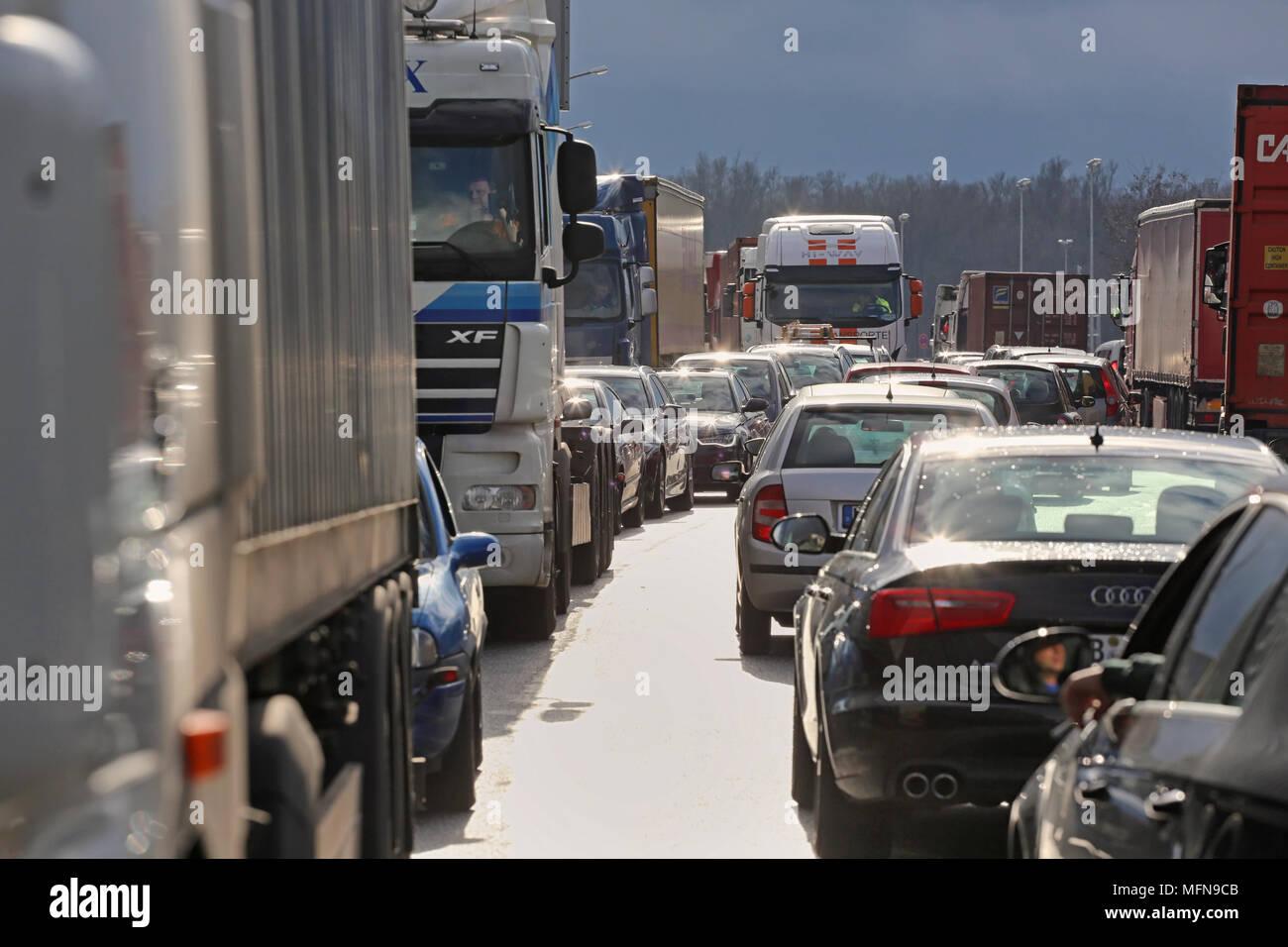 traffic jam with lorries - Stock Image