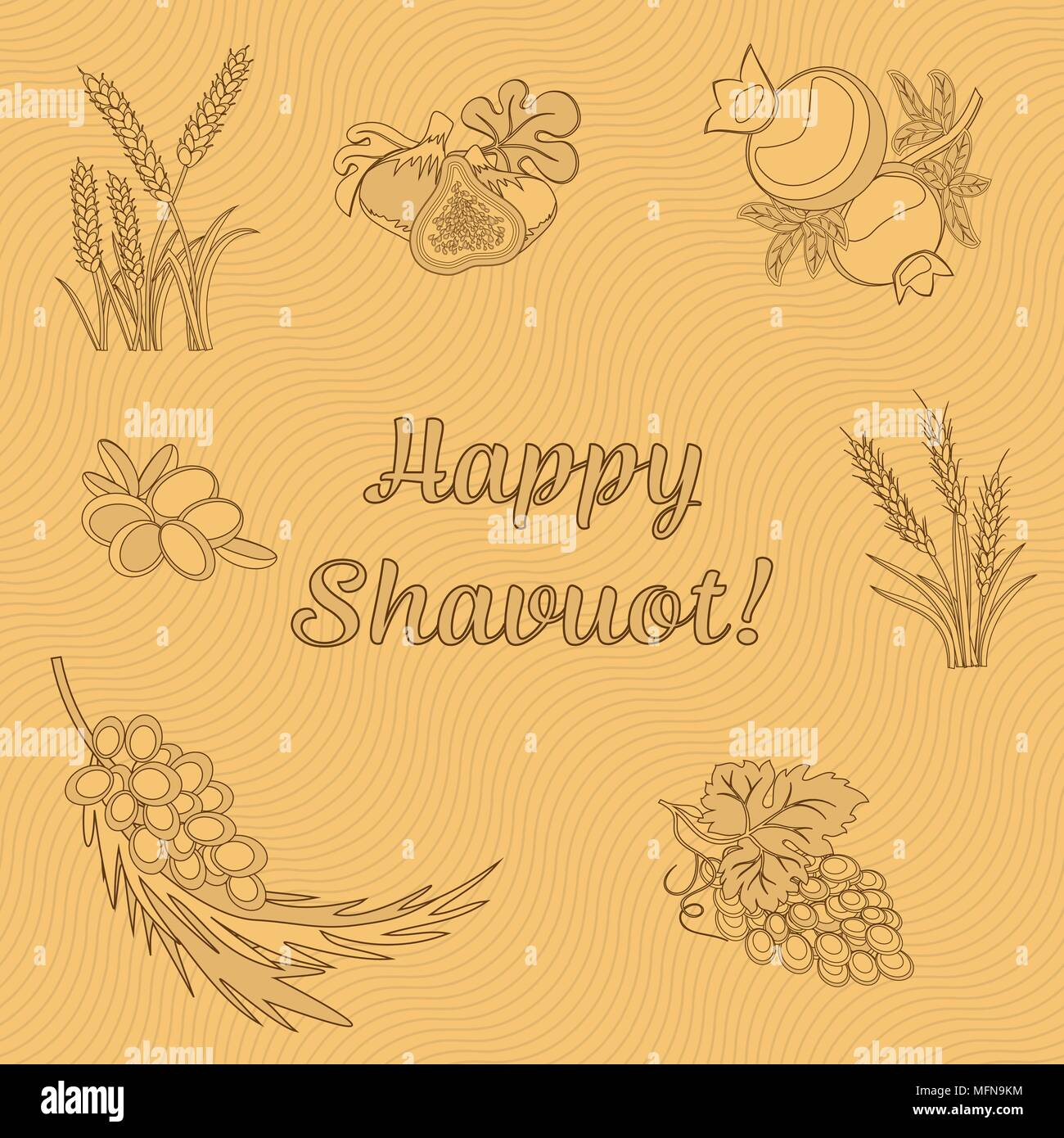 Seven Species of the Shavuot, set of agricultural products with inscription on Jewish holiday. Vector illustration EPS 10 - Stock Vector