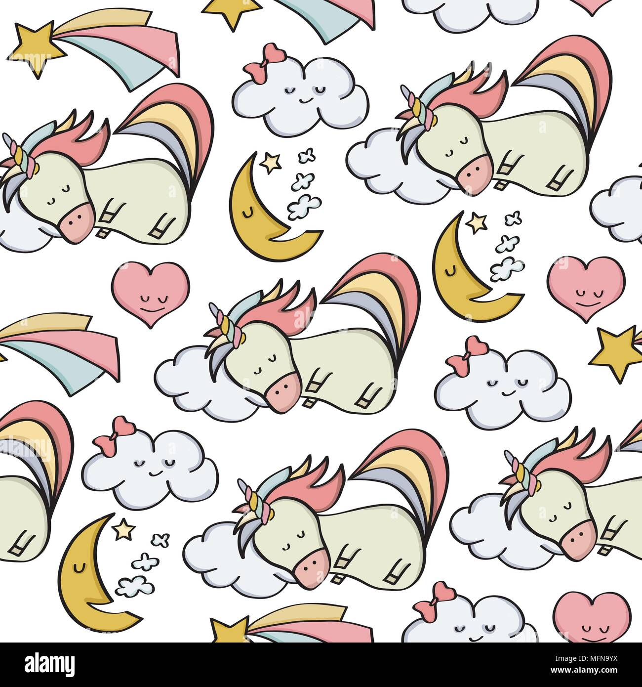 doodle seamless pattern with unicorns and other fantasy magical