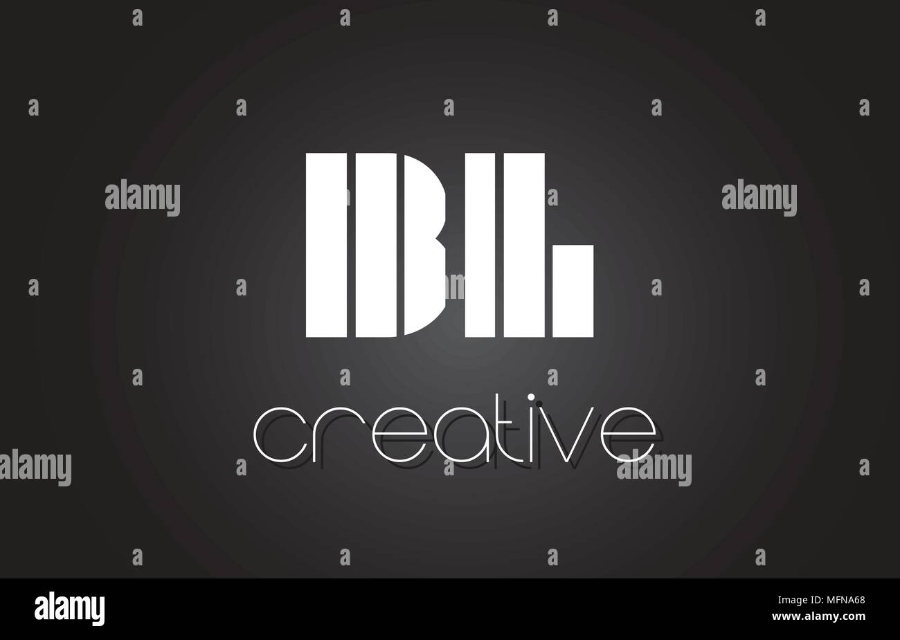Bl B L Creative Letter Logo Design With White And Black Lines Stock