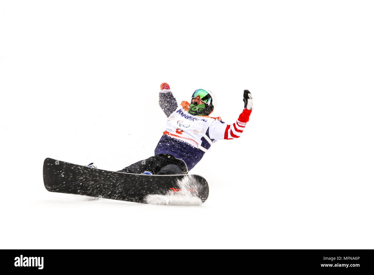 PyeongChang 2018 16th March . Para Snowboard. Team USA, Minor Mike won gold - Stock Image