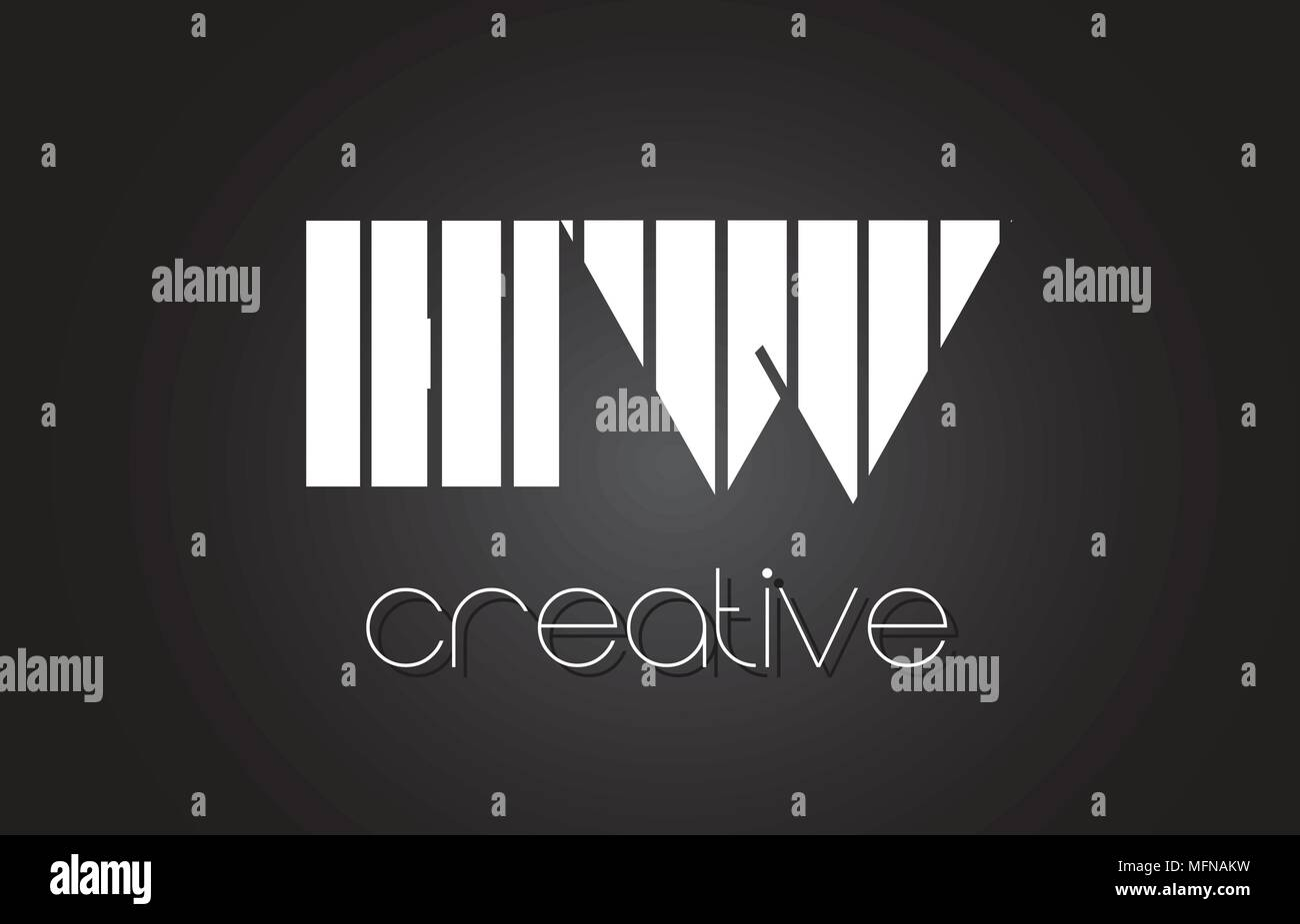 HW H W Creative Letter Logo Design With White and Black Lines. - Stock Image