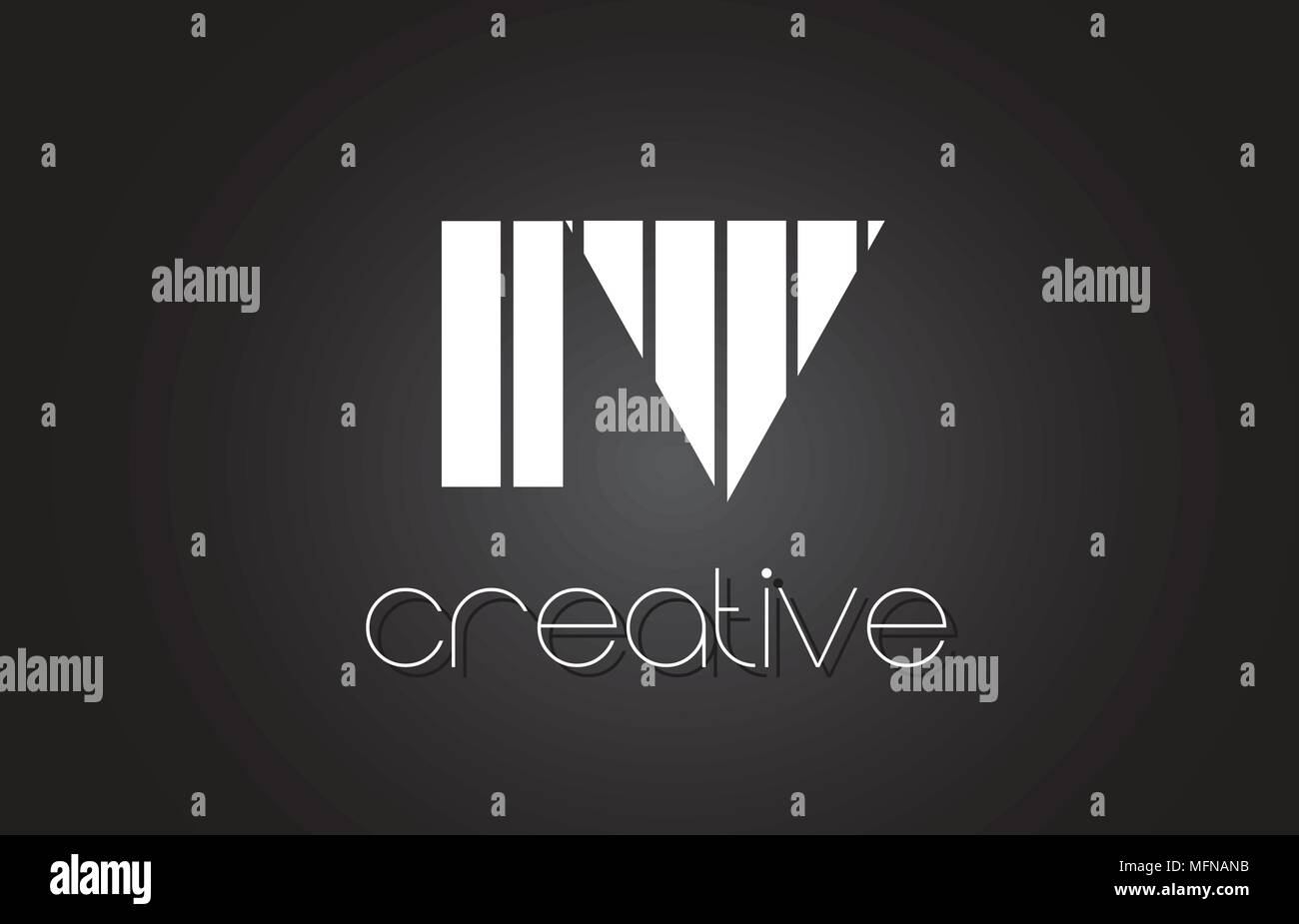 IV I V Creative Letter Logo Design With White and Black Lines. - Stock Vector