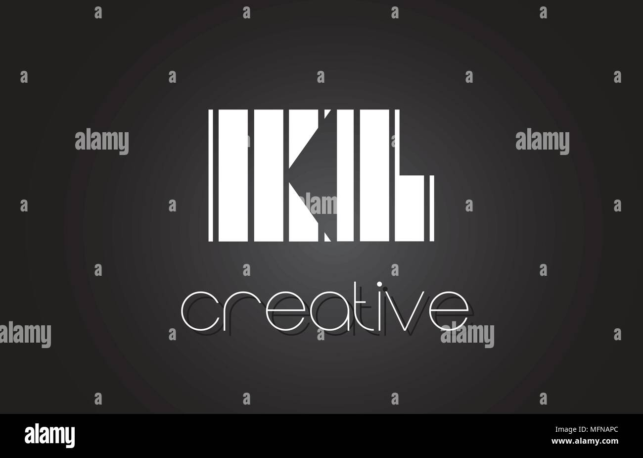 KL K L Creative Letter Logo Design With White and Black Lines. - Stock Vector