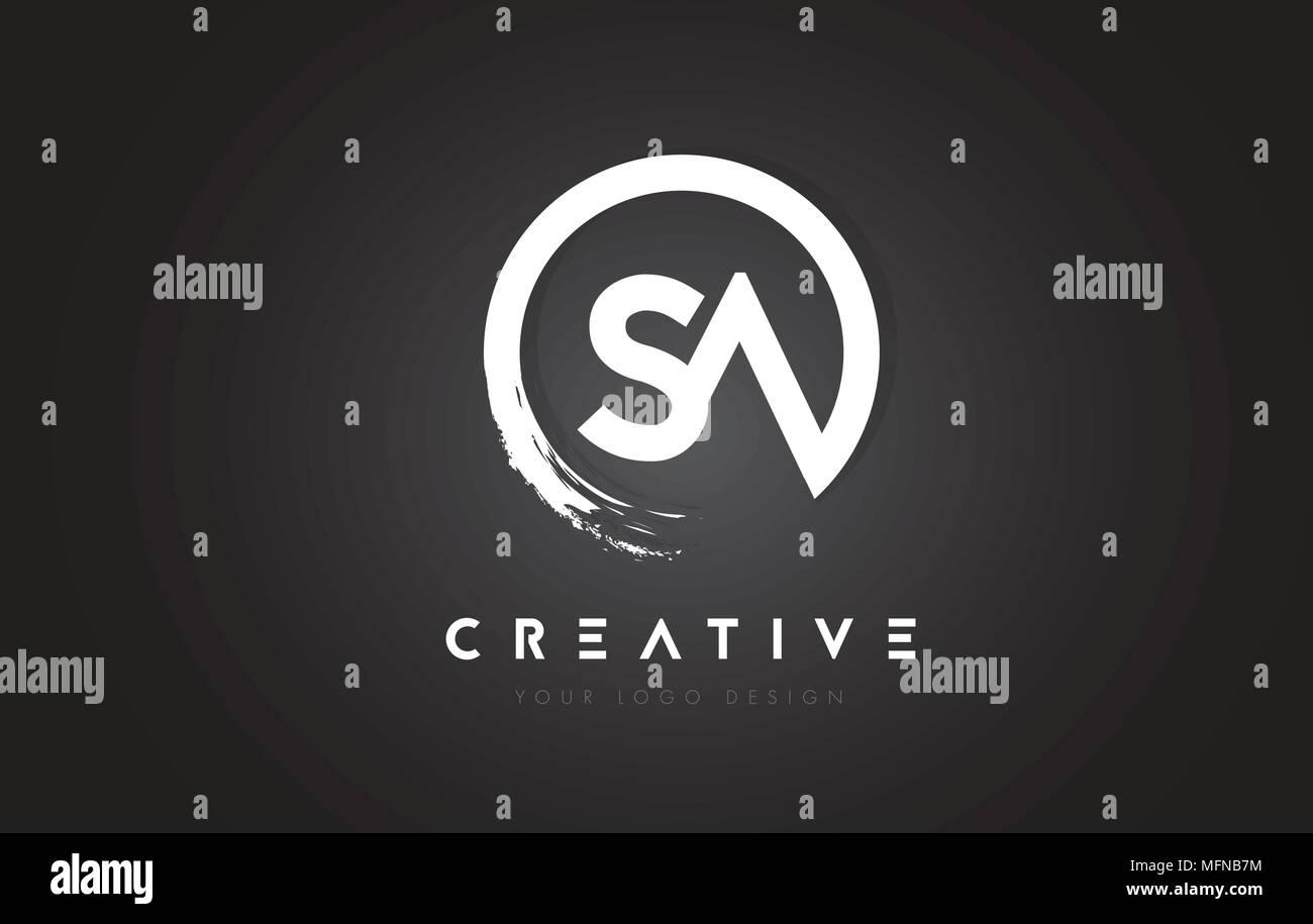 SA Circular Letter Logo with Circle Brush Design and Black Background. - Stock Vector