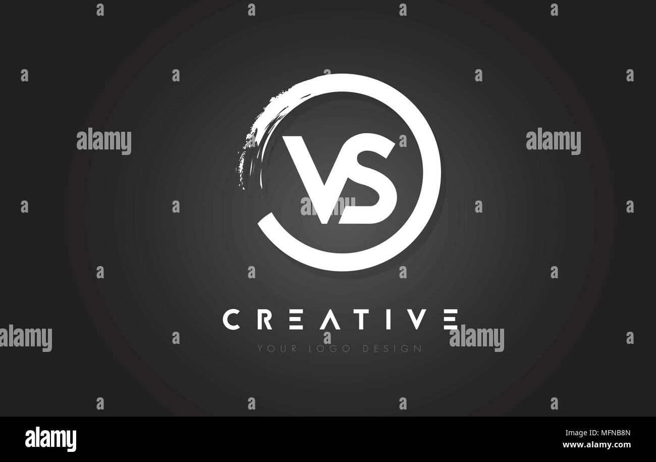 VS Circular Letter Logo with Circle Brush Design and Black Background. - Stock Vector