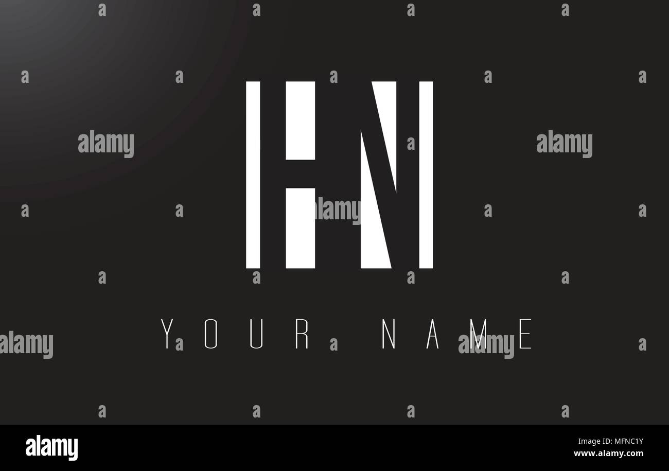 HN Letter Logo With Black and White Letters Negative Space Design. Stock Vector