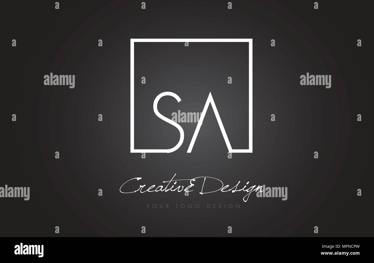 SA Square Framed Letter Logo Design Vector with Black and White Colors. - Stock Vector
