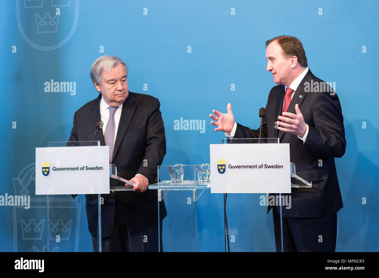 Stockholm, Sweden, 23th April, 2018. UN Secretary-General and Security Council to meet in Sweden. - Stock Image