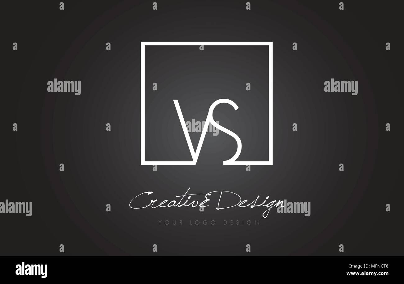 VS Square Framed Letter Logo Design Vector with Black and White Colors. - Stock Vector