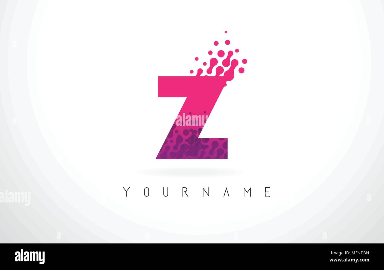 Z Letter Logo with Pink Letters and Purple Color Particles