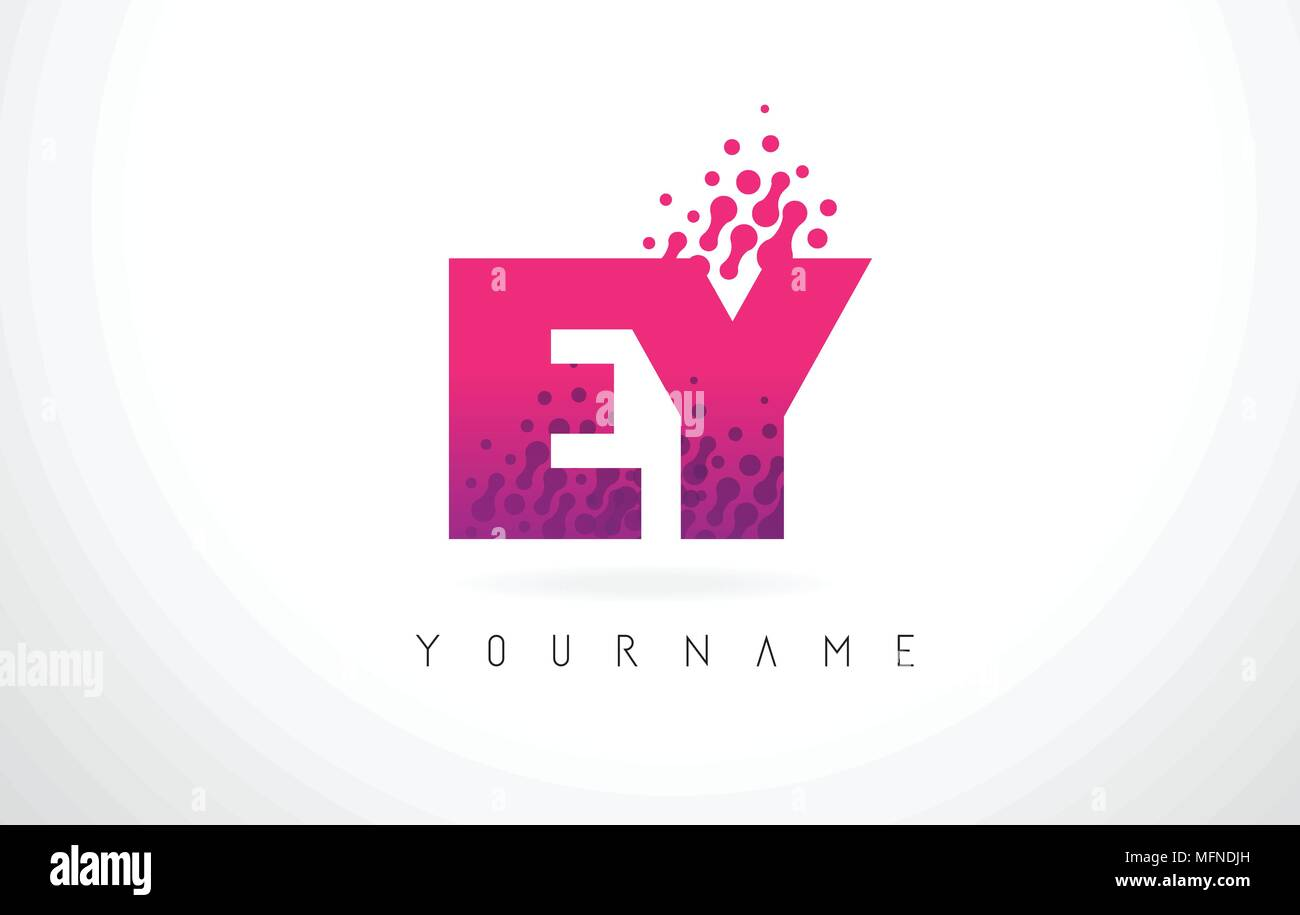 EY E Y Letter Logo with Pink Letters and Purple Color Particles Dots ...