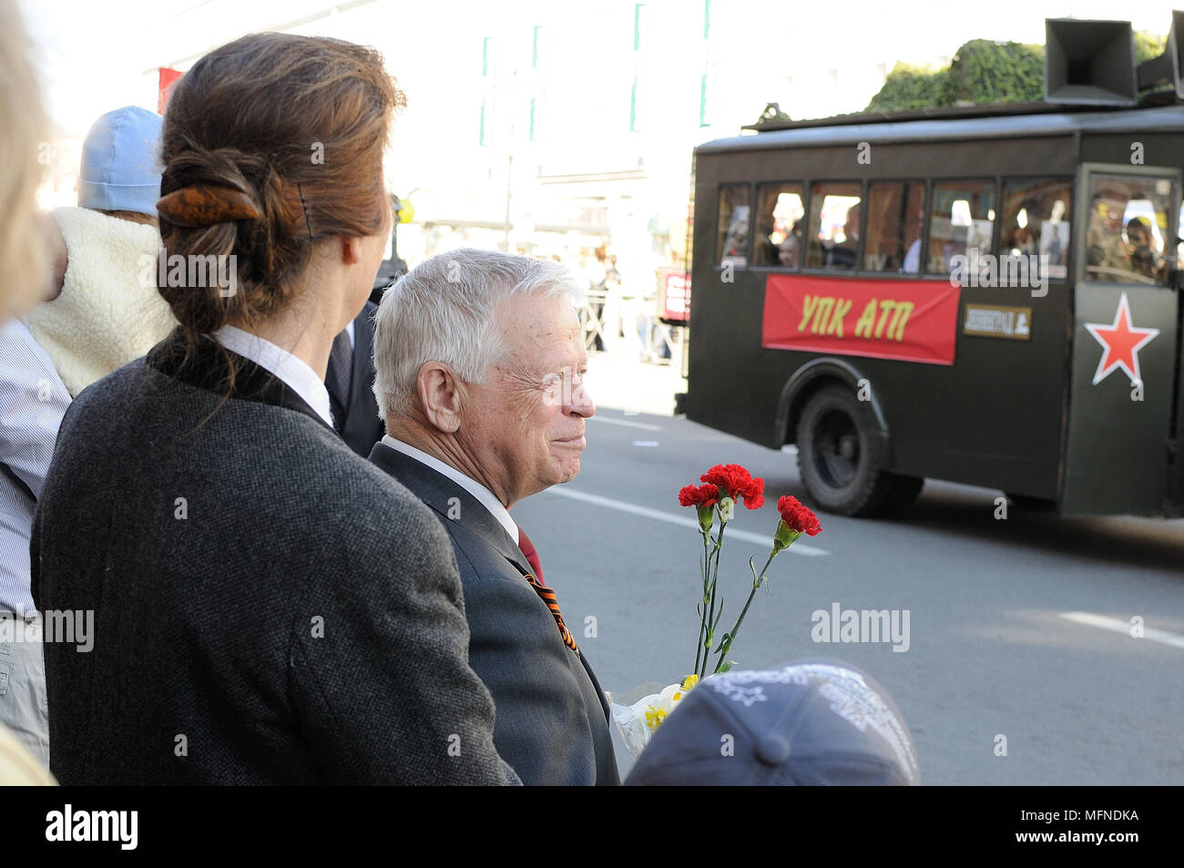 Procession of veterans of World War II on Victory Day Stock Photo