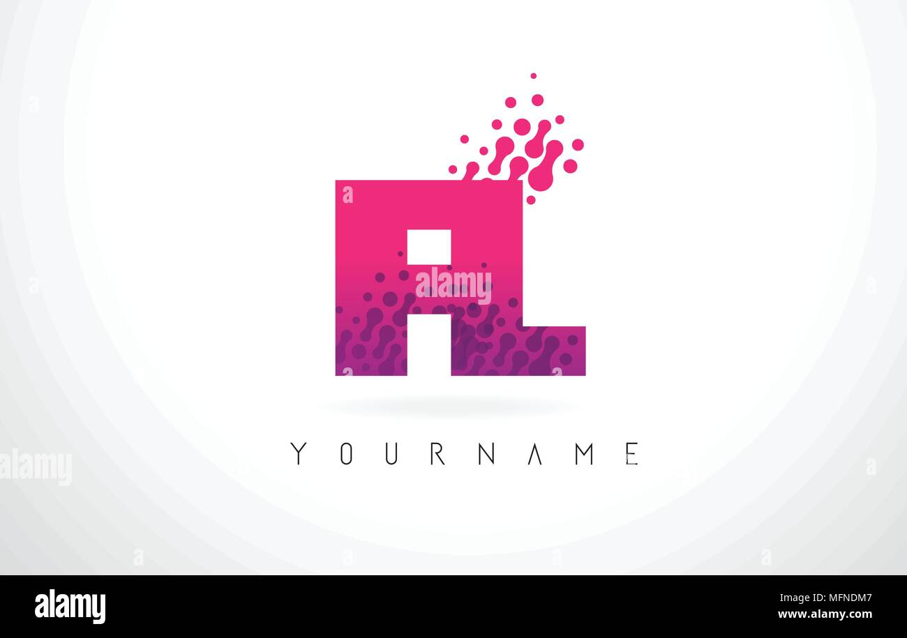 FL F L Letter Logo with Pink Letters and Purple Color Particles Dots ...