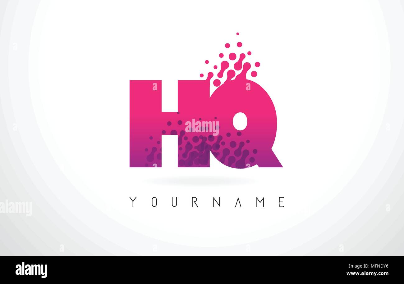 HQ H Q Letter Logo with Pink Letters and Purple Color Particles Dots ...