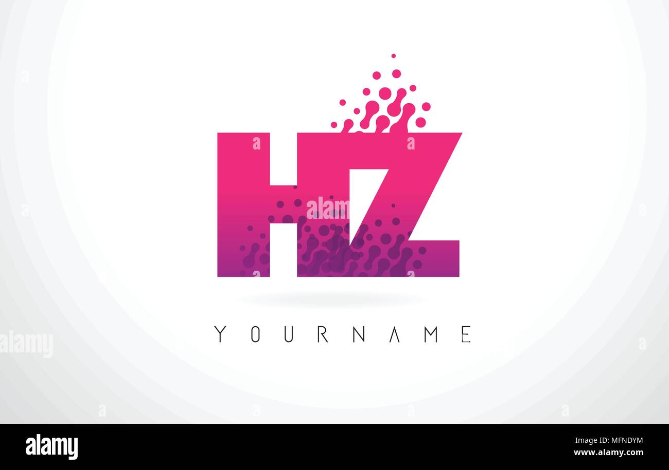 HZ H Z Letter Logo with Pink Letters and Purple Color Particles Dots ...