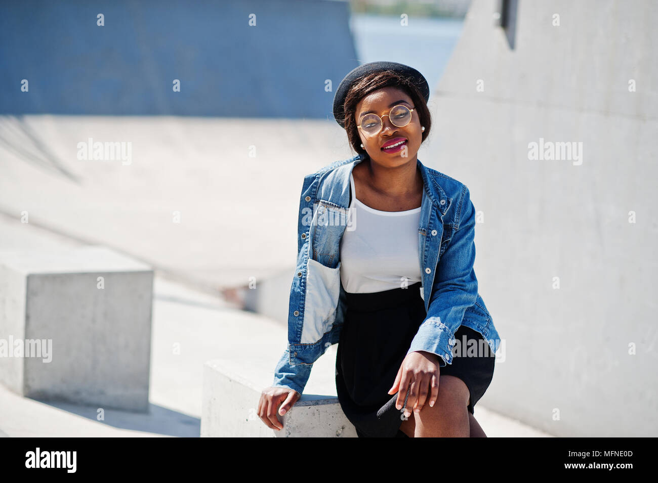 8a91202133dc Stylish african american model in glasses hat