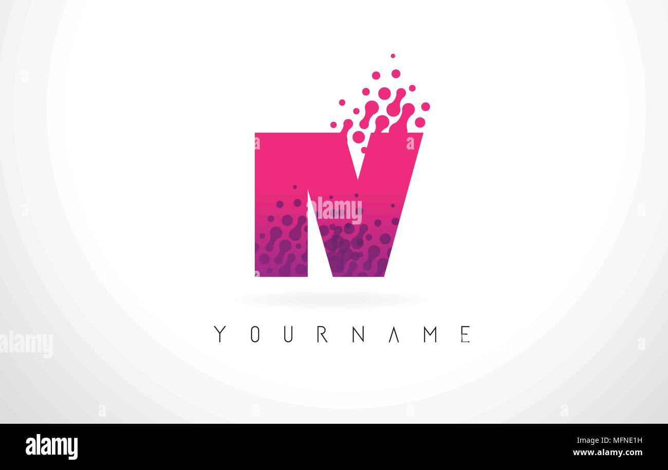 IV I V Letter Logo with Pink Letters and Purple Color Particles Dots Design. - Stock Vector