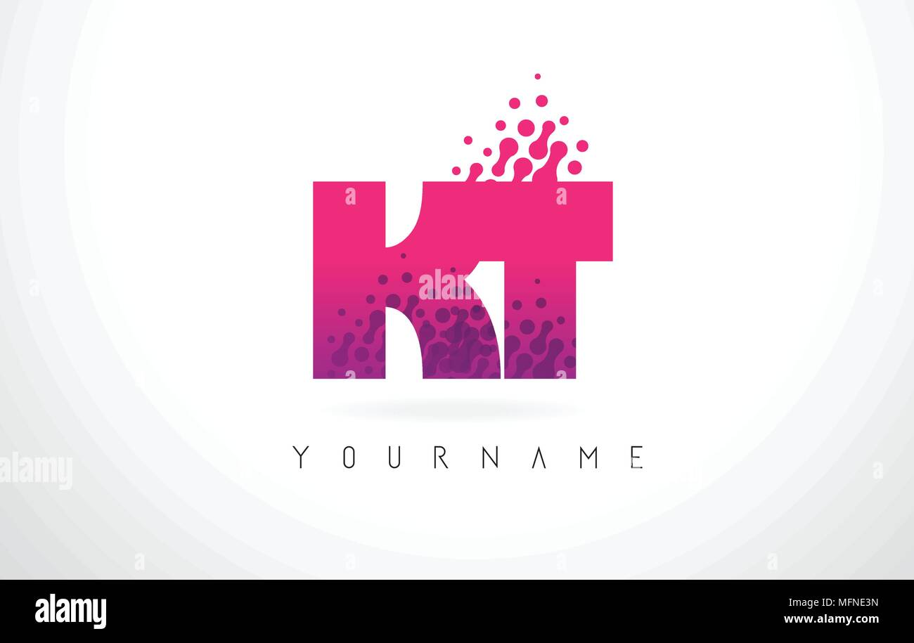 KT K T Letter Logo with Pink Letters and Purple Color Particles Dots ...