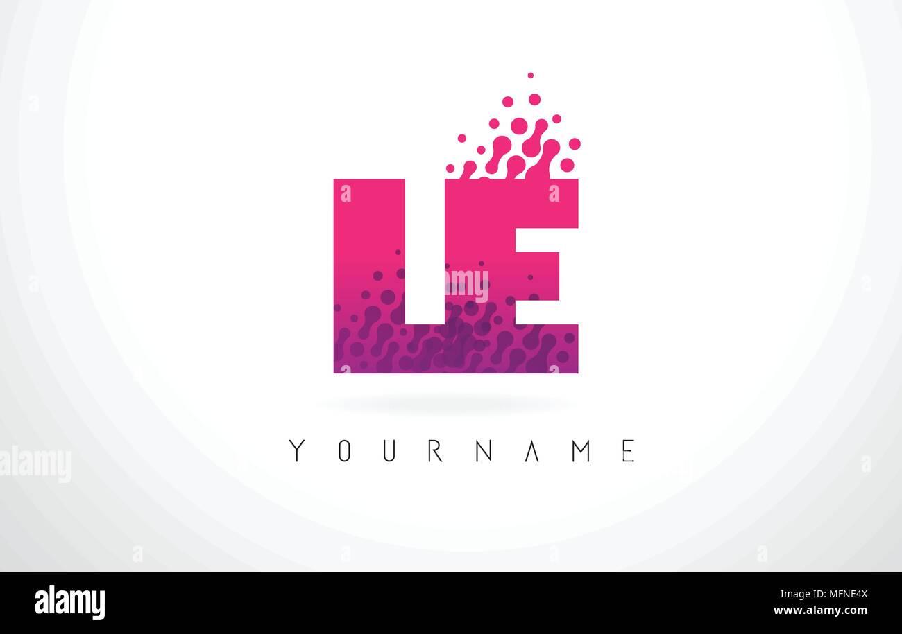 LE L E Letter Logo with Pink Letters and Purple Color Particles Dots ...
