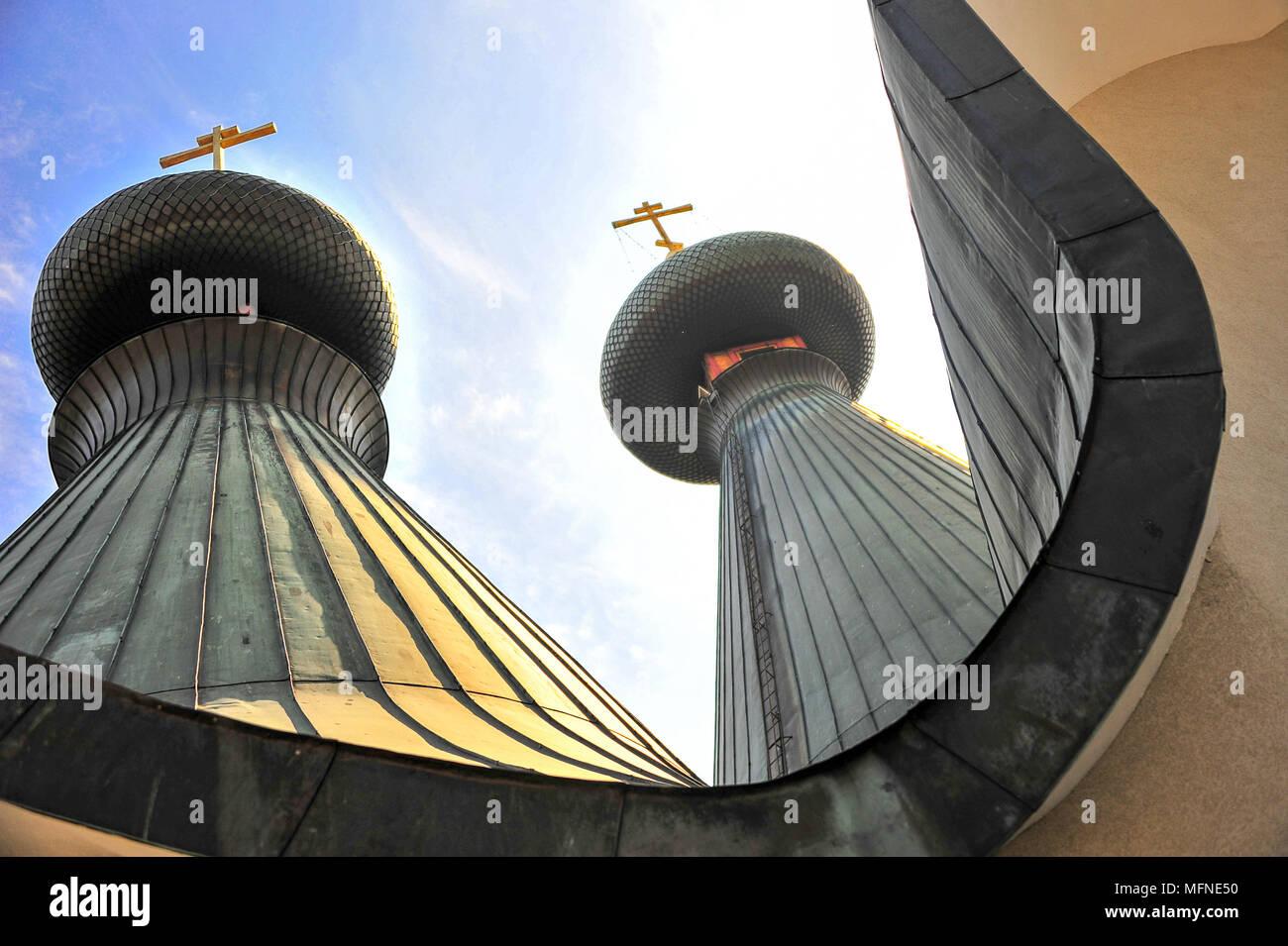 Golden sunlight reflected on onion domes. Holy Trinity Orthodox Church, Hajnowka, Poland - Stock Image
