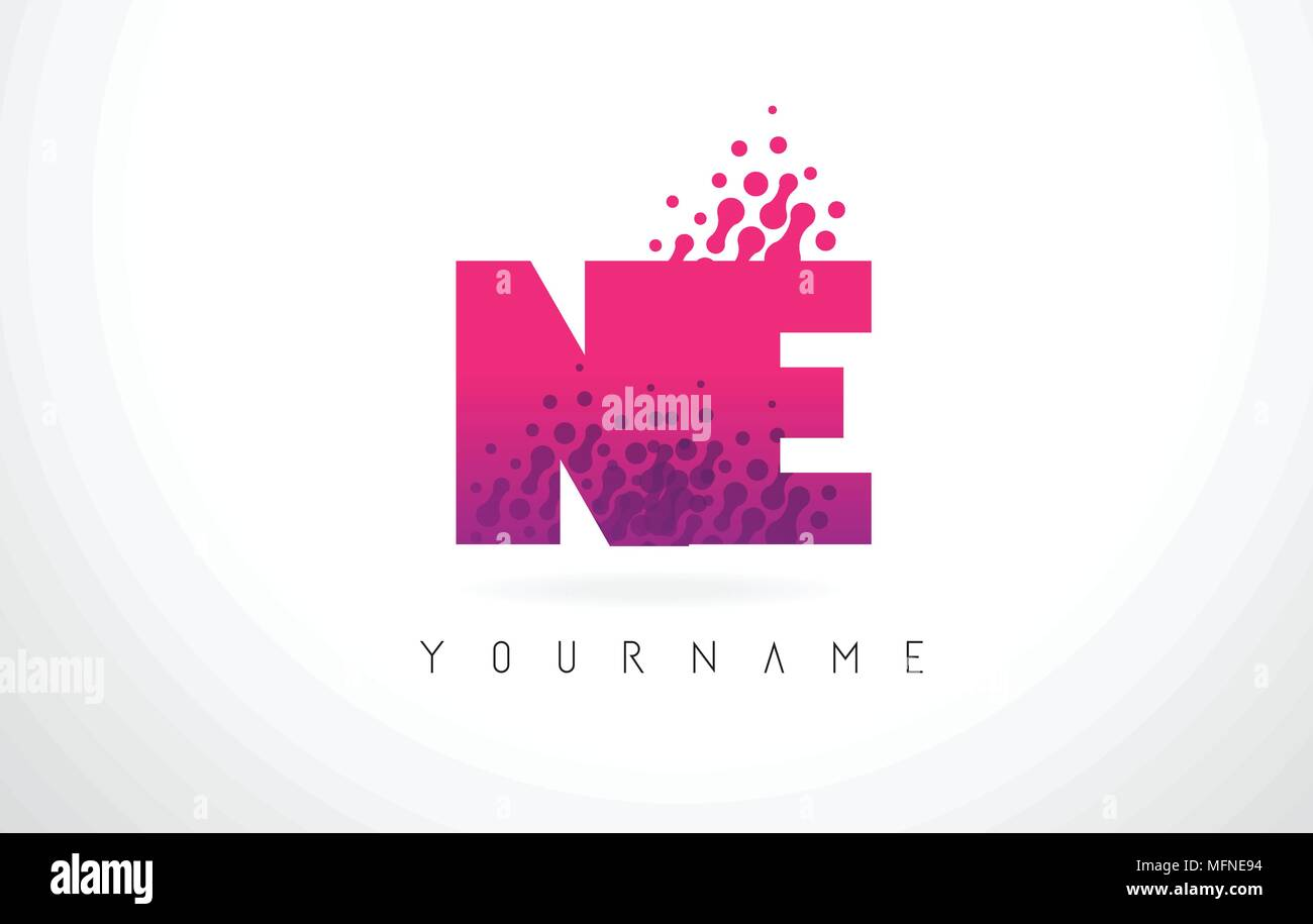 NE N E Letter Logo with Pink Letters and Purple Color Particles Dots ...