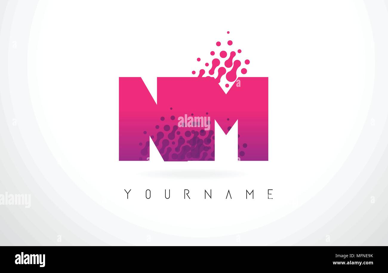 NM N M Letter Logo with Pink Letters and Purple Color Particles Dots ...