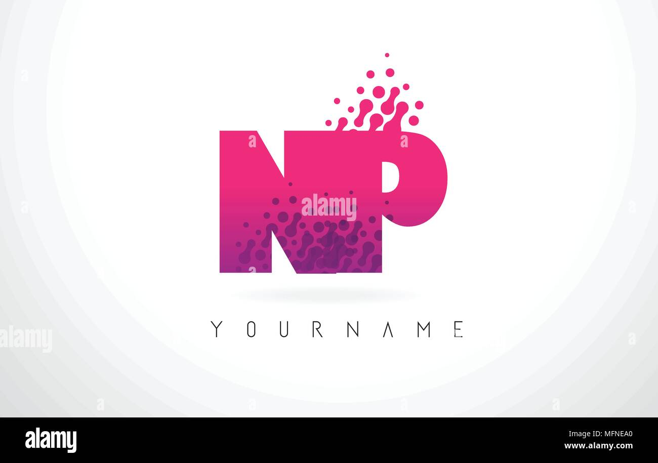 NP N P Letter Logo with Pink Letters and Purple Color Particles Dots ...