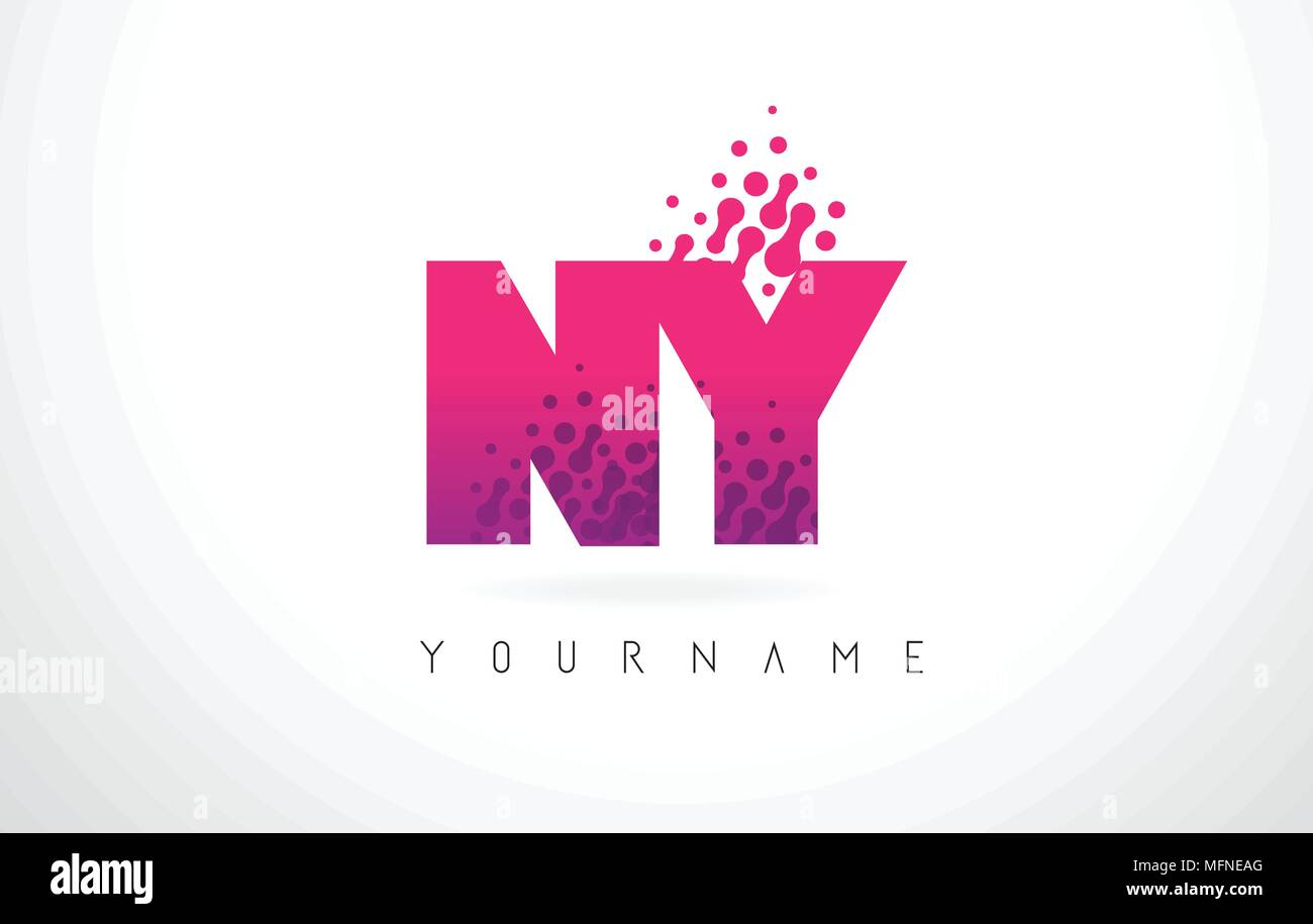 NY N Y Letter Logo with Pink Letters and Purple Color Particles Dots ...