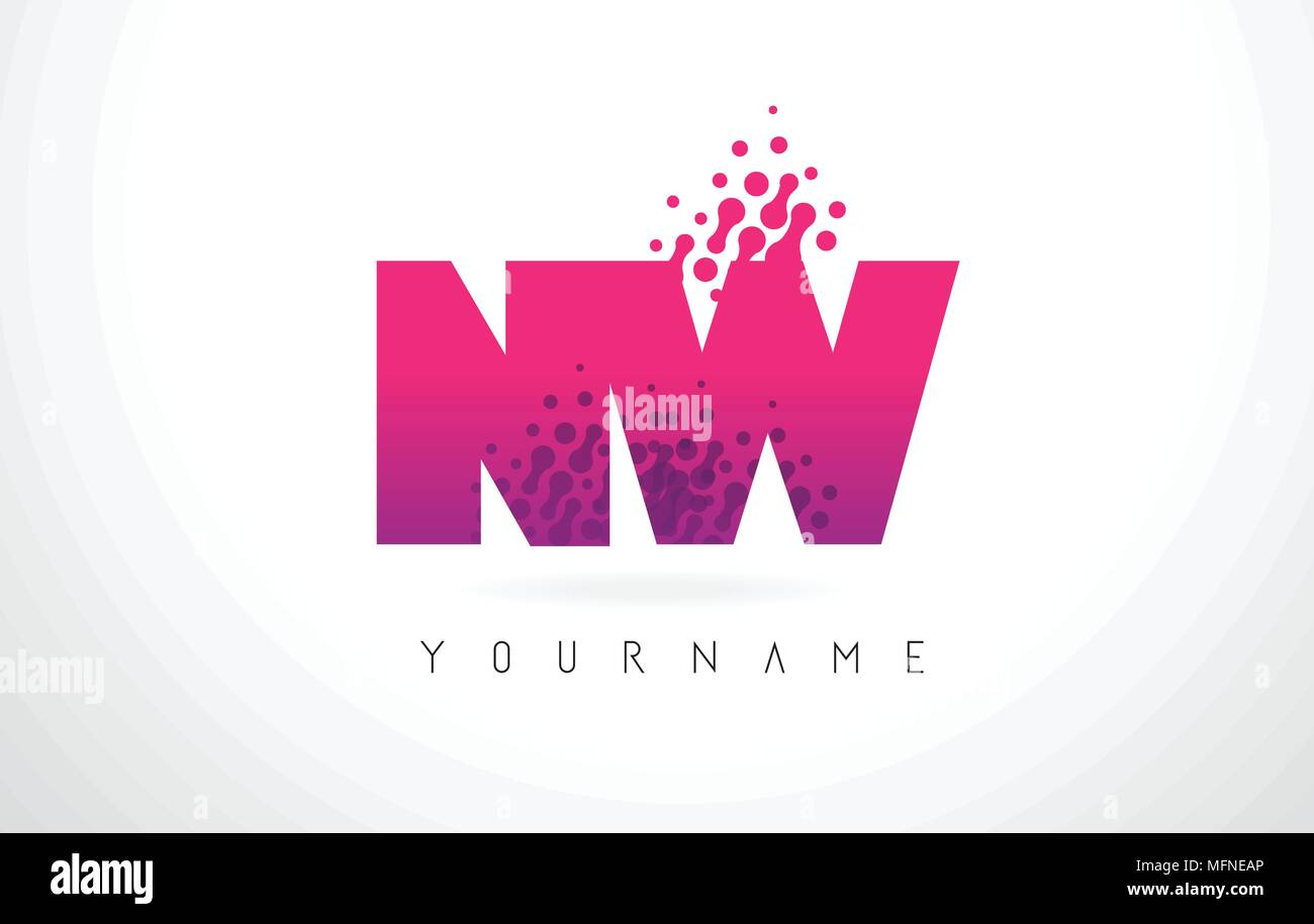 NW N W Letter Logo with Pink Letters and Purple Color Particles Dots ...