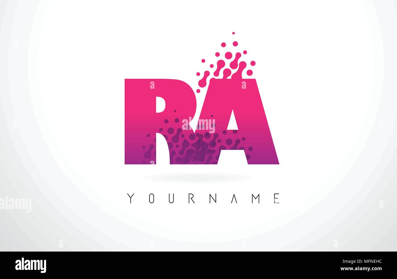 RA R Q Letter Logo with Pink Letters and Purple Color Particles Dots ...