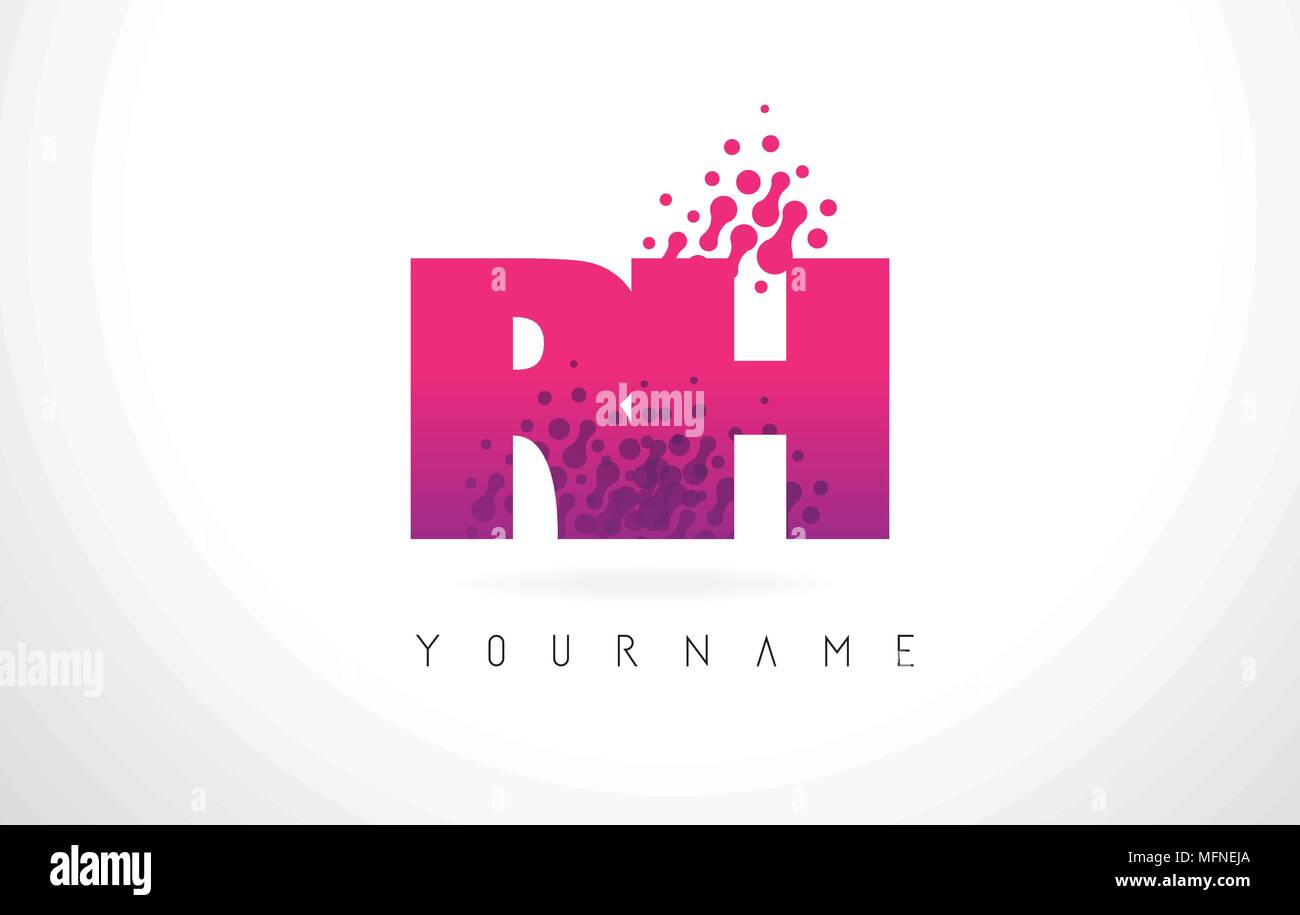 RH R H Letter Logo with Pink Letters and Purple Color Particles Dots ...
