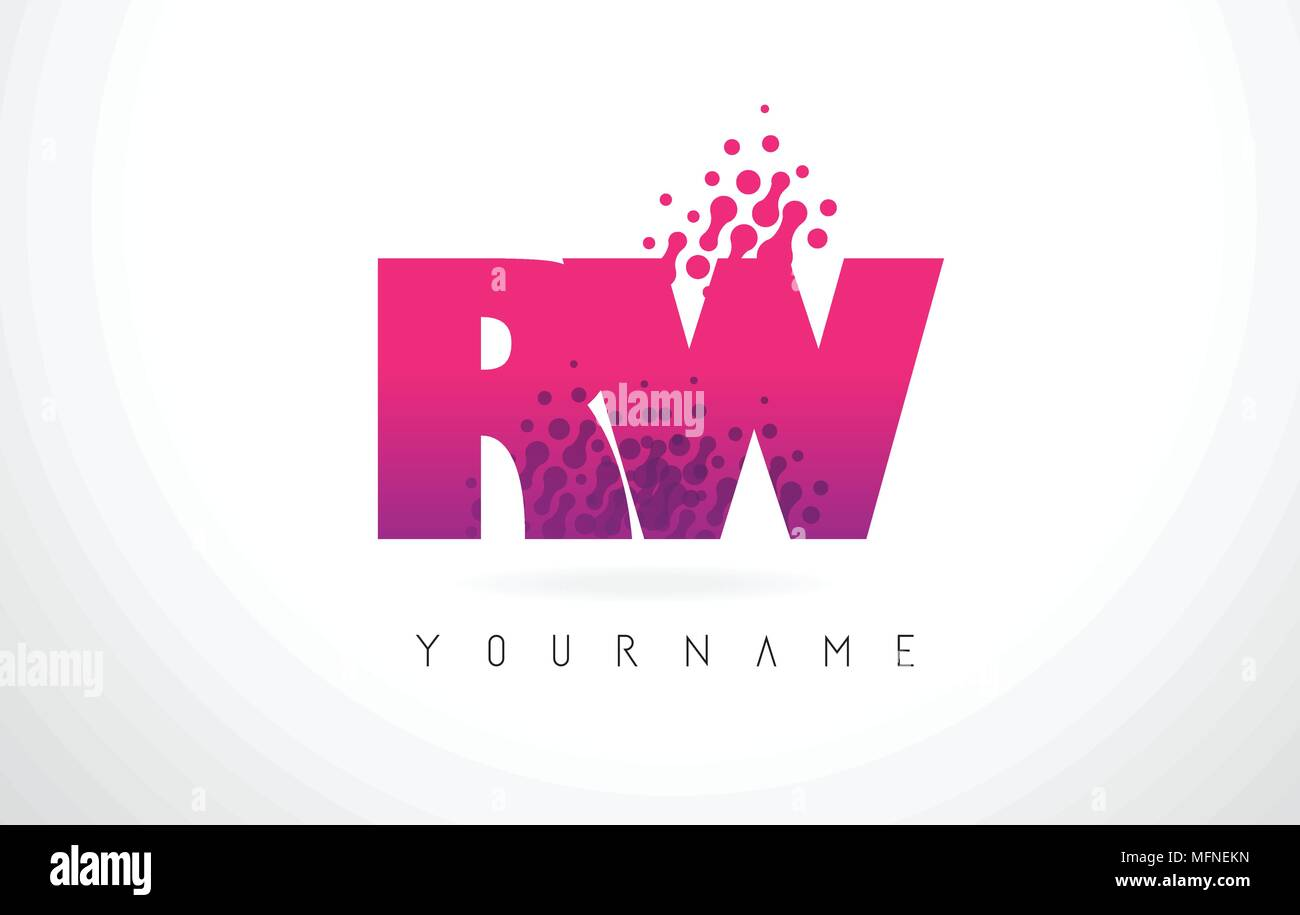 RW R W Letter Logo with Pink Letters and Purple Color Particles Dots Design. - Stock Image